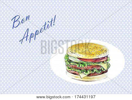 Illustration of hamburger - Hand Drawn Sketch - Bon Appetit