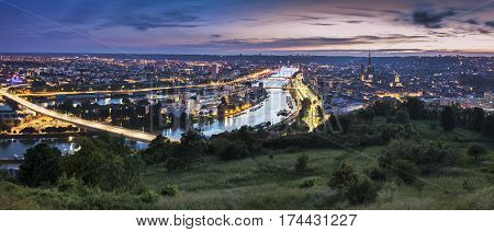 Panorama of Rouen at sunset. Rouen Normandy France.