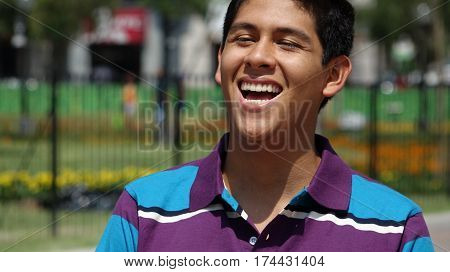 Laughter of a Teen Boy Having Fun