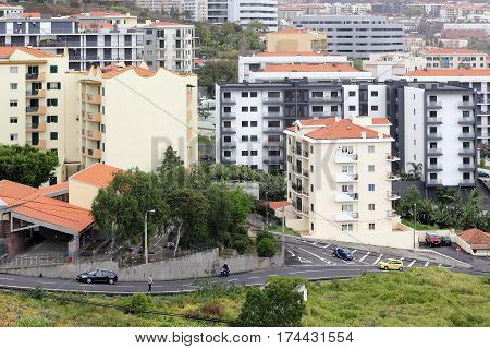 Panorama of the neighbourhood of Nazaré in Funchal on Madeira