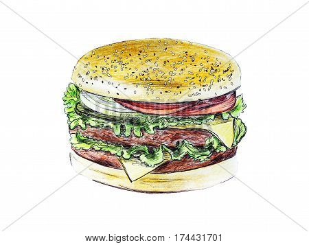 Hand drawn illustration of hamburger in color on white background