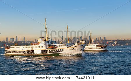 ISTANBUL - September 12: Ferry from the pier to dock, September 12, 2016 in Istanbul. Passengers use ferries in Istanbul, for easy access to two continents of Europe and Asia.