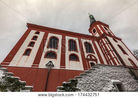 Church of Saint Wenceslas in Loket. Loket Bohemia Czech Republic.