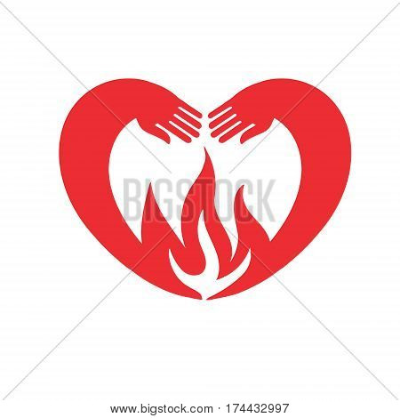 Heart showing tongue hands in heart-shaped embrace the flame