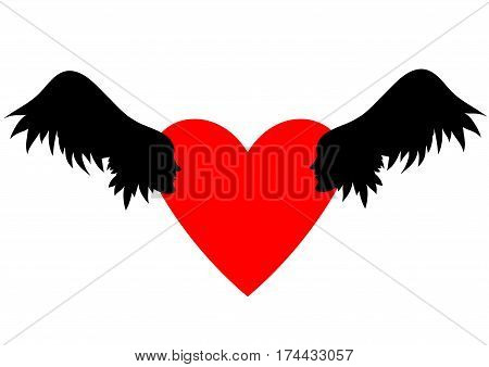 Winged hearts with wings, sky clouds. Valentines Day vector illustration. Wings with human faces in profile.