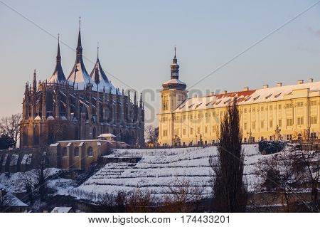 Jesuit College and St. Barbara's Church in Kutna Hora. Kutna Hora Central Bohemian Region Czech Republic.