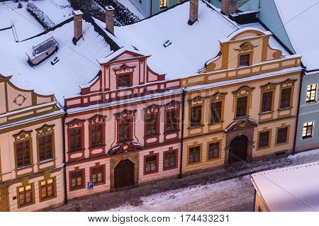 Colorful architecture of Main Square in Hradec Kralove. Hradec Kralove Bohemia Czech Republic.