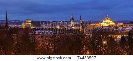 Panorama of Olomouc at night. Olomouc Olomouc Region Czech Republic.