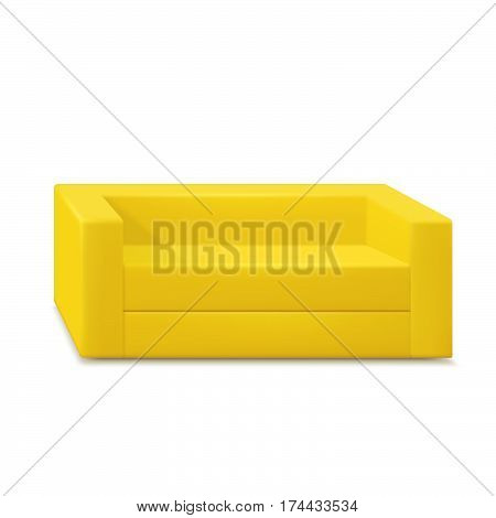 Yellow sofa isolated on white background. Vector.
