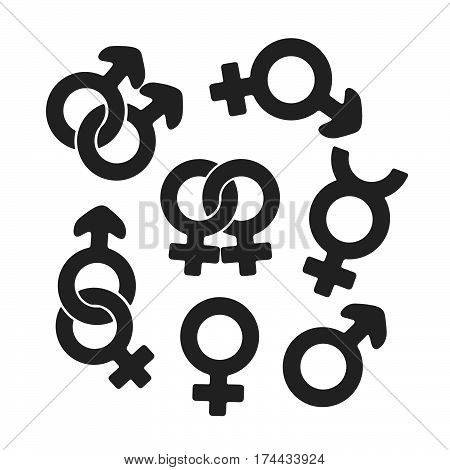Vector illustration. Silhouette set of gender symbols. Gender pictograms. Template or pattern. Decoration for greeting cards wallpapers emblems