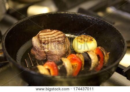 Beef Steak in the Griddle Pan ,Street Food