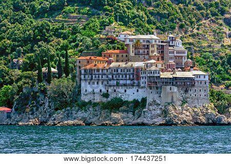 Scenic view of Gregoriou monastery on Mount Athos, Greece