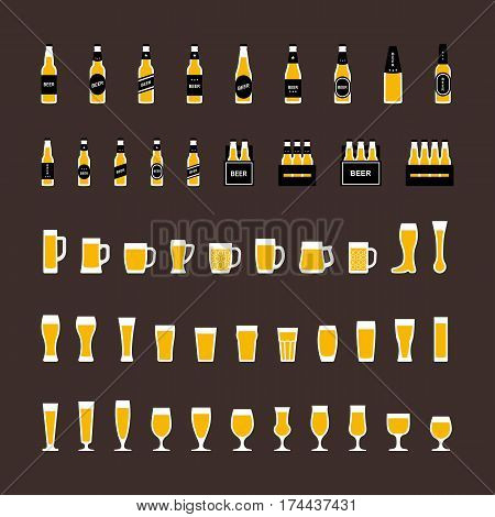Beer icons set in flat style, bottles and glasses . Vector illustration