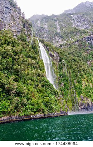 Stirling Falls in the Milford Sound on the South Island of New Zealand