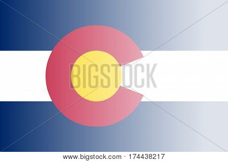 The flag of the USA state of Colorado with fade