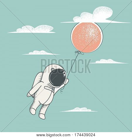 Little astronaut fly with red balloon to sky.Clouds around.Childish cartoon design for kid t-shirts, dress or greeting cards.Vintage style