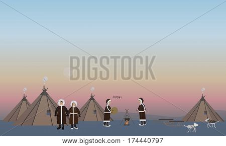 Vector illustration of northern arctic people and their houses in flat style. Eskimo characters cooking on the open fire, playing drum and dancing.