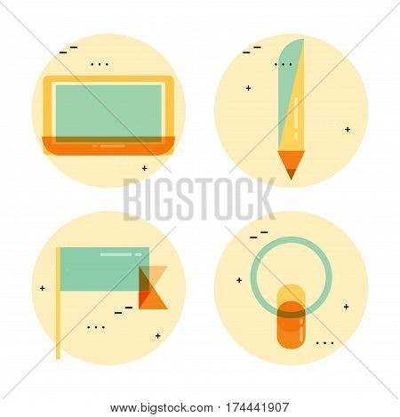 Icons for creative writing, design, blogging, freelance work, analysis, education, research, learning, trainings, courses. Flat line business vector illustration banner for mobile and web graphics