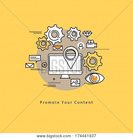 Flat line modern corporate business vector illustration design and infographic elements for online social media marketing campaigns, digital promotion, internet, web advertising and content management