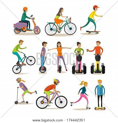 Vector set of characters, sport and modern street transport icons isolated on white background. Means of transport concept design elements in flat style.