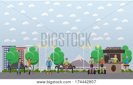 Vector illustration of modern park with people taking rest, drinking coffee and riding monocycle, gyroscooter, segway. Modern park concept design element in flat style.