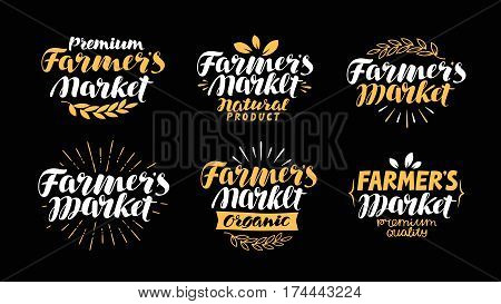 Farm or agriculture label. Farmer's market, handwritten inscription. Lettering, calligraphy vector
