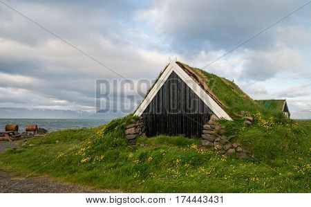 Traditional green roof turf house in Iceland