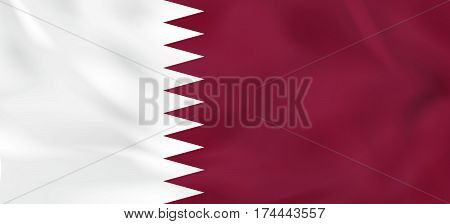 Qatar Waving Flag. Vector Illustration.