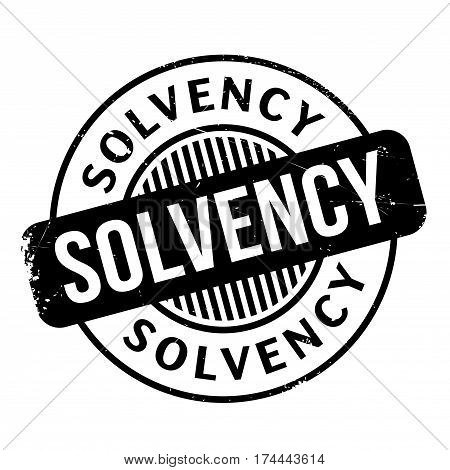 Solvency rubber stamp. Grunge design with dust scratches. Effects can be easily removed for a clean, crisp look. Color is easily changed.