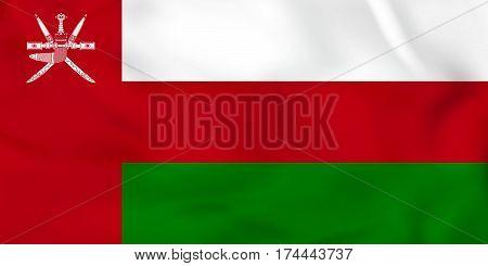 Oman Waving Flag. Oman National Flag Background Texture.