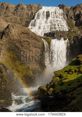 Beautiful and majestic Dynjandi waterfall in Iceland