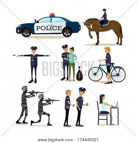 Vector icons set of policeman characters isolated on white background. Policemen in office and outside, mounted police, police transport flat style design elements.