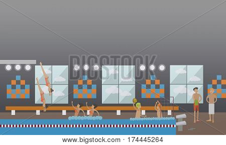 Vector illustration of swimming pool and people male and female doing water sports. Diving, synchronized swimming, water polo concept design elements in flat style.