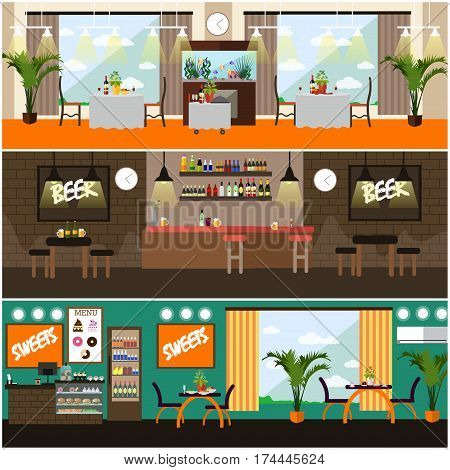 Vector set of pub, brasserie and restaurant interior concept posters, banners. Flat style design elements.