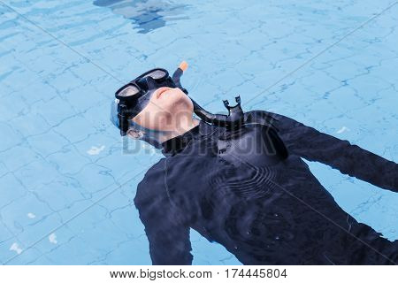Free Diving Training On Swimming Pool