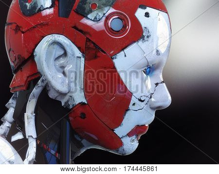 The head of a cyborg on a black background. 3d illustration.