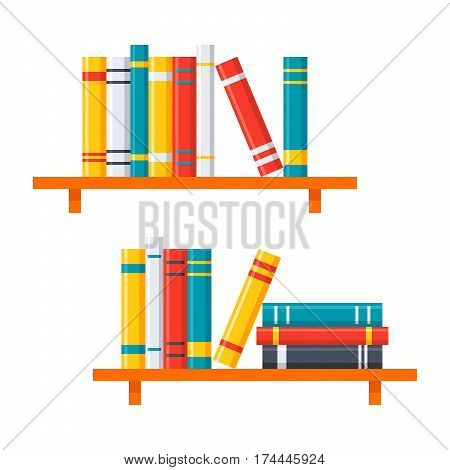 Wall-mounted shelves with books vector illustration in flat style