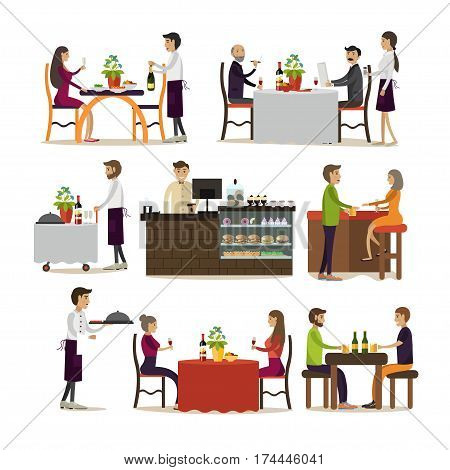 Vector set of pub and restaurant people icons isolated on white background. Waiters, barista, people drinking beer, having lunch or dinner concept design elements in flat style.