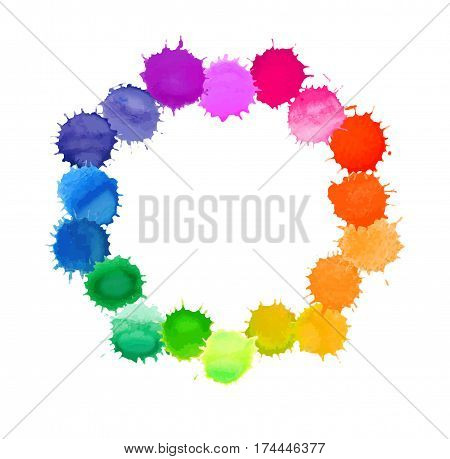 Vector Round Frame Made Of Watercolor Rainbow Blobs