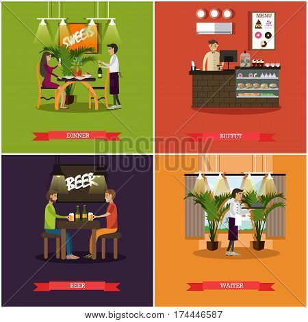 Vector set of pub concept posters. Dinner, Buffet, Beer and Waiter flat style design elements.