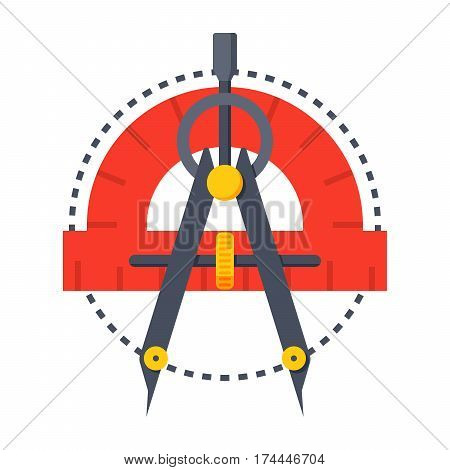 Geometry concept with protractor, compass and circle