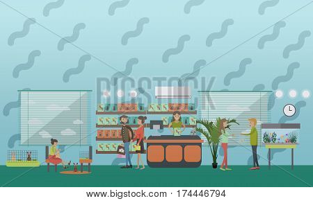 Vector illustration of pet shop with saleswoman, girl playing with rabbits and people buying fishes, food for parrots. Flat style design elements.
