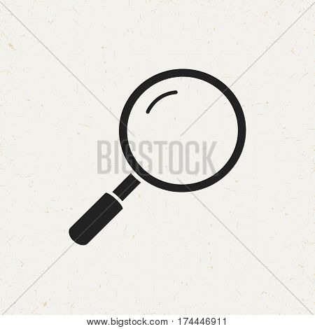 Flat monochrome magnifier icon in vintage style. Isolated magnifier icon for use in variety of projects. Black and white vector magnifier icon for web sites and apps.