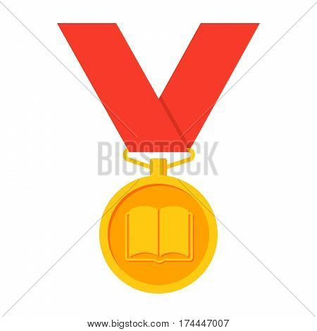 Gold medal vector illustration in flat style