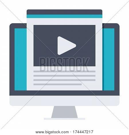Education online, webinar or elearning theme, vector illustration in flat style