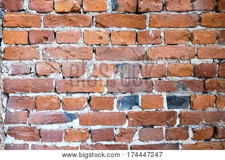 old brick wallsgreat background of old crumbling red brick