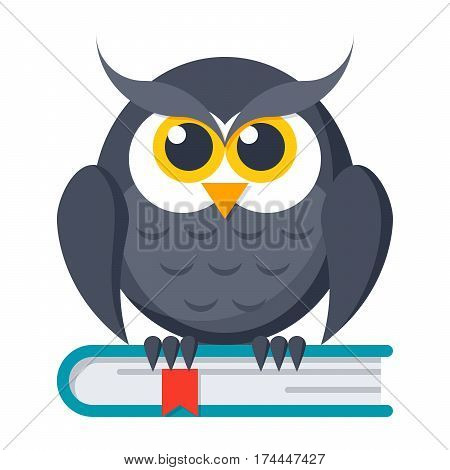 Knowledge concept with owl on book, vector illustration in flat style