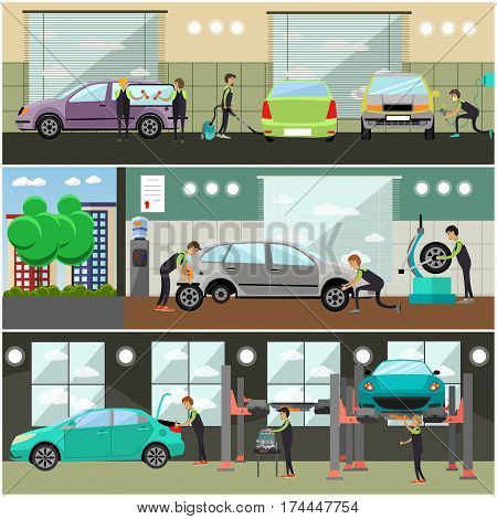 Vector set of car service, auto repair concept posters, banners in flat style. Workers repairing and changing auto spare parts, tires. Service station or repair shop interior.