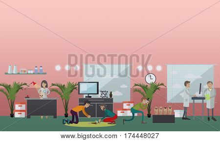 Vector illustration of archaeological laboratory interior, archaeologists and equipment. Archaeological research concept design element in flat style.