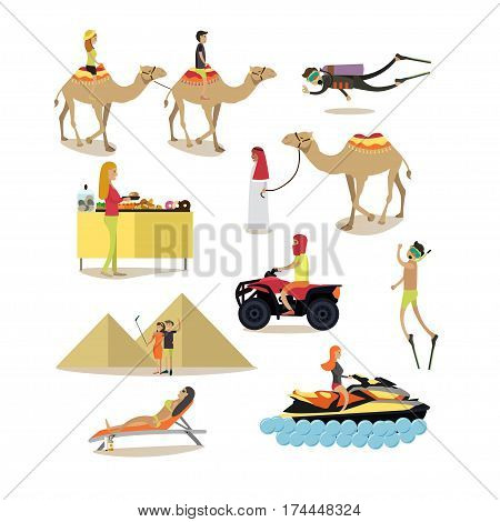 Vector set of people having rest in Egypt isolated on white background. Travelers sunbathing, scuba diving, taking selfie, riding camel, quad bike and water scooter, smorgasbord flat style icons.